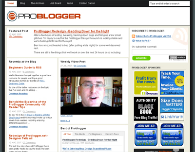 ProBlogger after the redesign