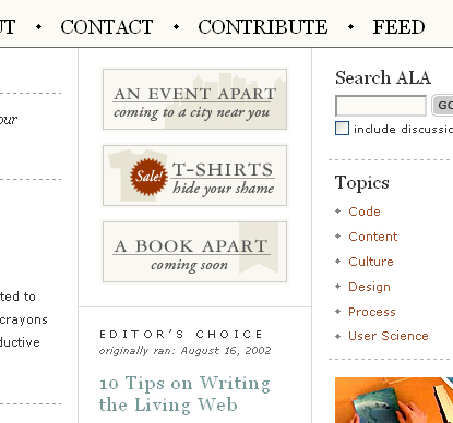 A List Apart's RSS Feed Link