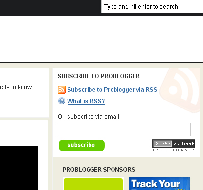 ProBlogger's RSS Feed Link