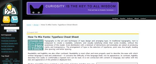 Typeface Cheat Sheet